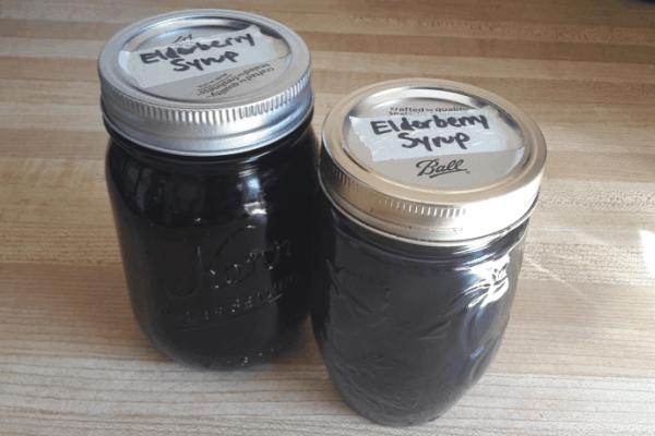 2 mason jars of elderberry syrup