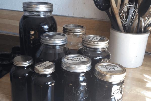 bulk batch of elderberry syrup in mason jars
