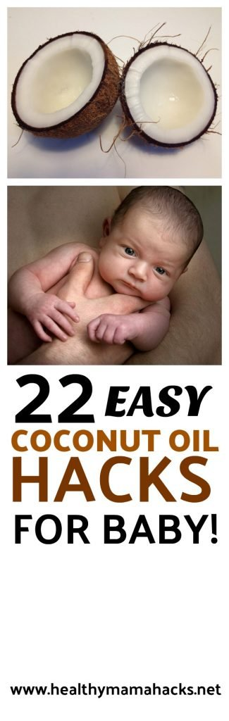 Find out the many health benefits of coconut oil for babies and learn 22 AMAZING ways to use this super oil with your baby!  #baby, #newborn, #coconutoil, #homeremedies, #babycare