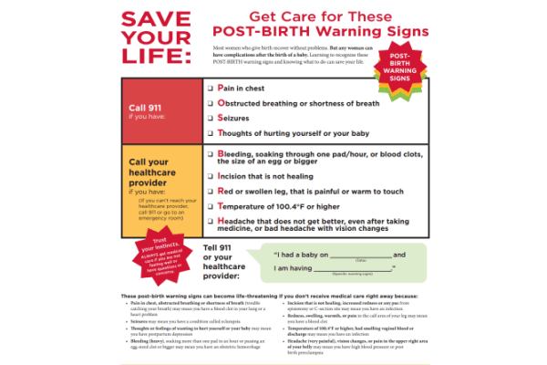 Print out this post-birth warning signs checklist. What does a postpartum recovery timeline look like?