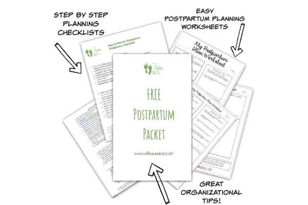 Image of postpartum planning packet download. Download this free printable postpartum packet for easier pre-baby planning.