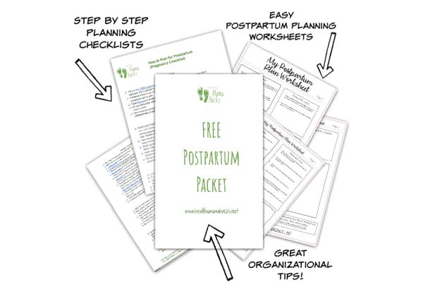 Image of postpartum planning packet download. Download this free printable postpartum packet for easier pre-baby planning.